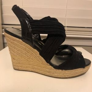 Black Peep Toe Wedges